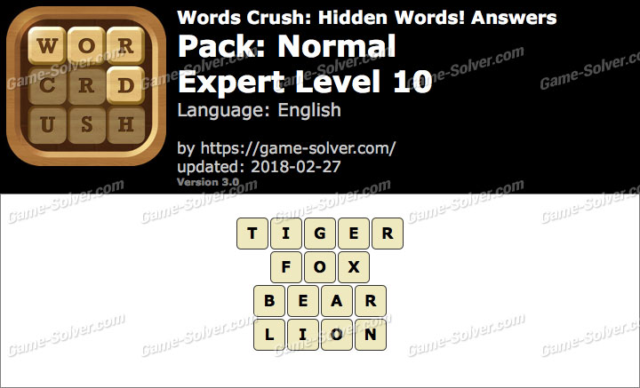 Words Crush Normal-Expert Level 10 Answers