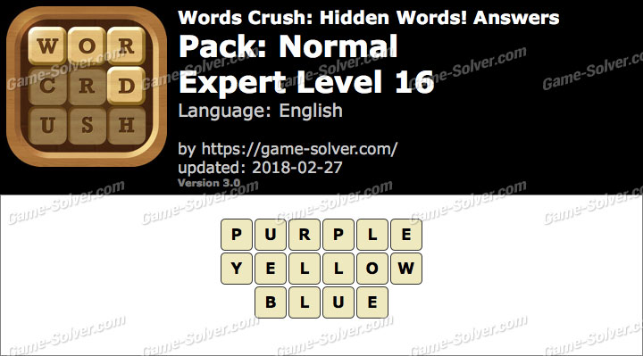 Words Crush Normal-Expert Level 16 Answers
