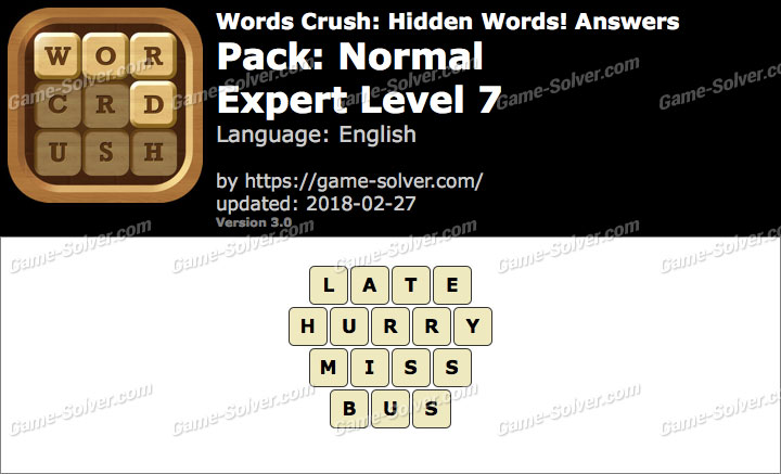 Words Crush Normal-Expert Level 7 Answers
