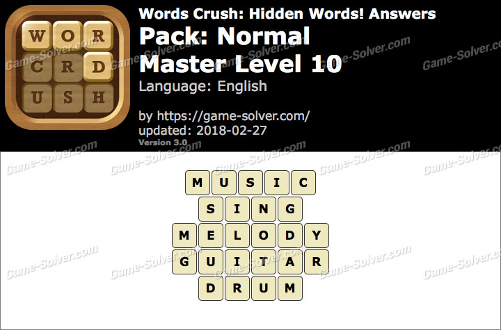 Words Crush Normal-Master Level 10 Answers