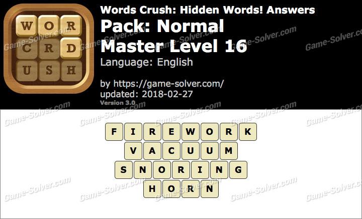 Words Crush Normal-Master Level 16 Answers