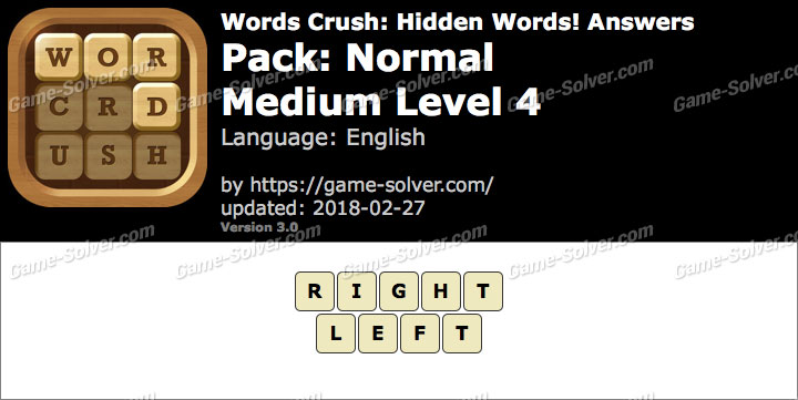 Words Crush Normal-Medium Level 4 Answers