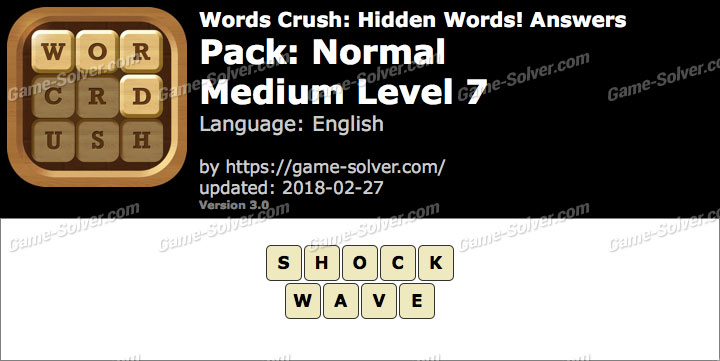 Words Crush Normal-Medium Level 7 Answers