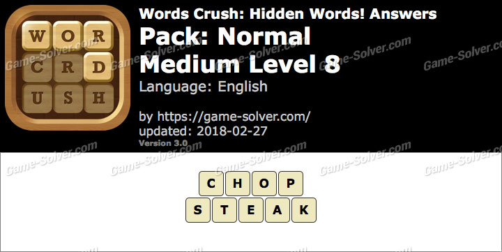 Words Crush Normal-Medium Level 8 Answers