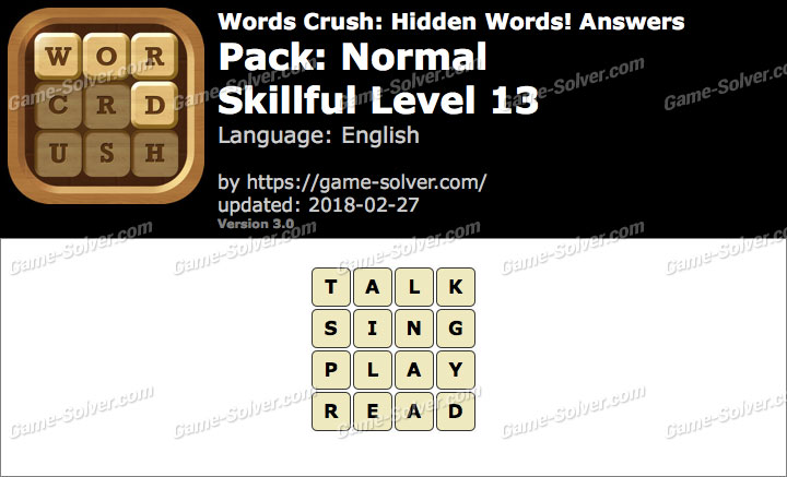 Words Crush Normal-Skillful Level 13 Answers