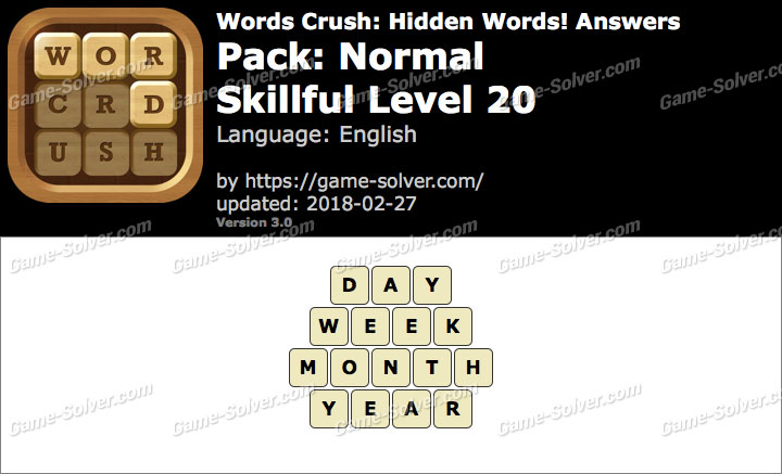 Words Crush Normal-Skillful Level 20 Answers