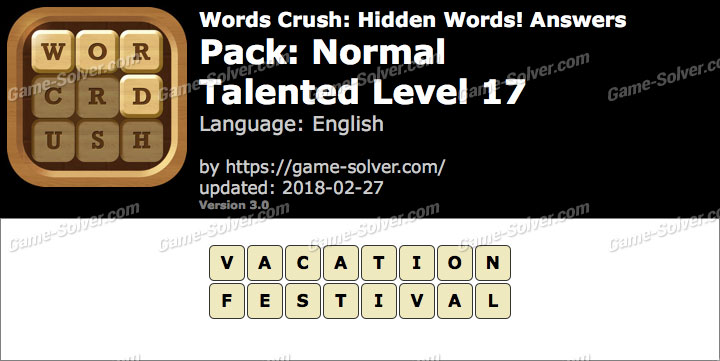 Words Crush Normal-Talented Level 17 Answers