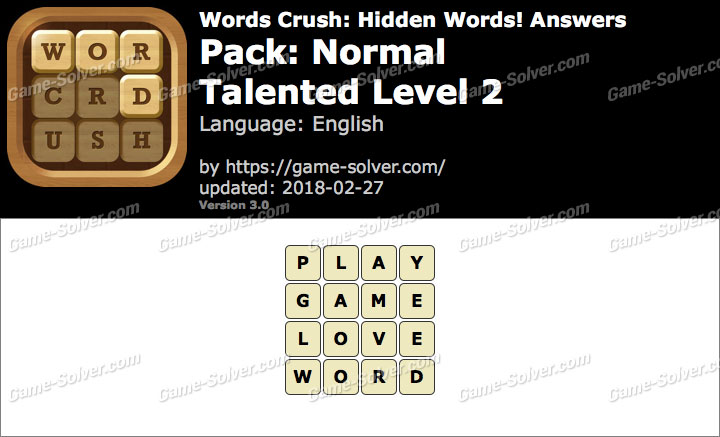 Words Crush Normal-Talented Level 2 Answers