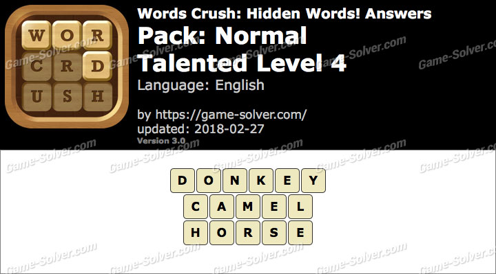 Words Crush Normal-Talented Level 4 Answers