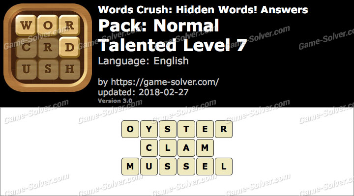 Words Crush Normal-Talented Level 7 Answers