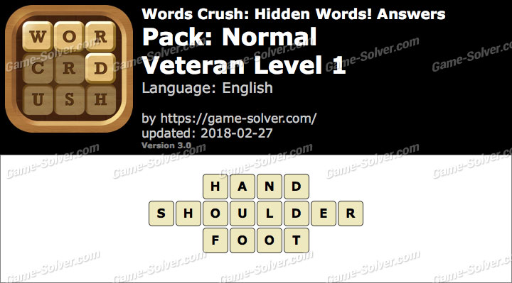 Words Crush Normal-Veteran Level 1 Answers