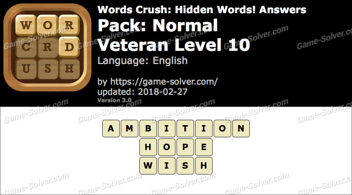 Words Crush Normal-Veteran Level 10 Answers