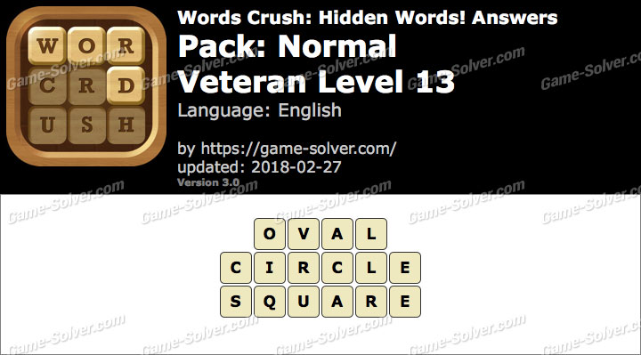 Words Crush Normal-Veteran Level 13 Answers