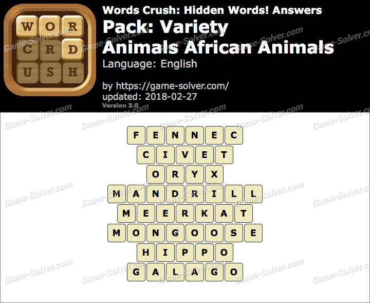 Words Crush Variety-Animals African Animals Answers