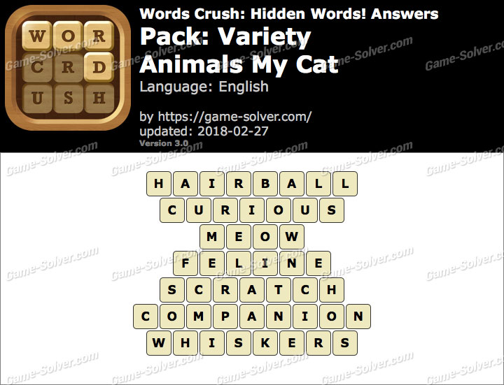 Words Crush Variety-Animals My Cat Answers