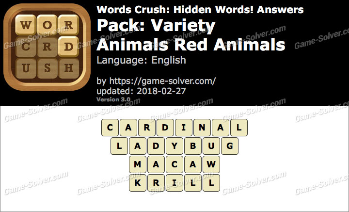 Words Crush Variety-Animals Red Animals Answers