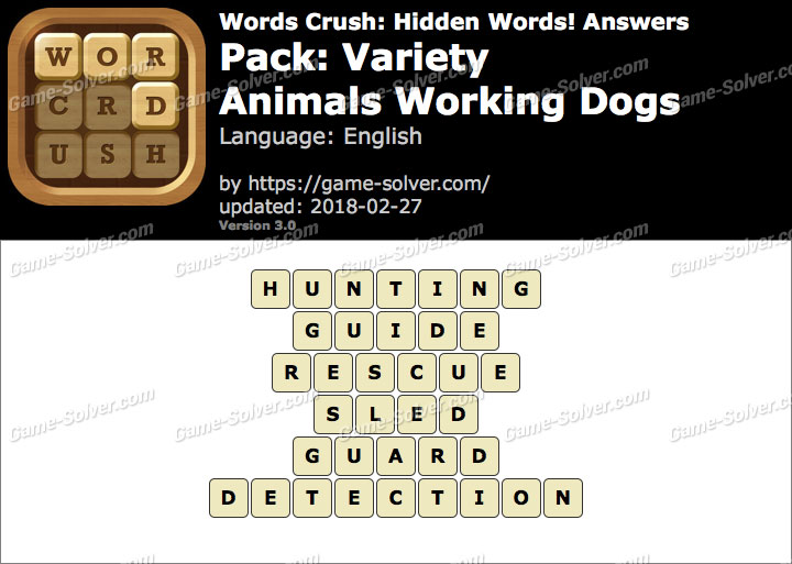 Words Crush Variety-Animals Working Dogs Answers