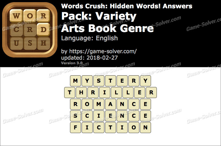 Words Crush Variety-Arts Book Genre Answers