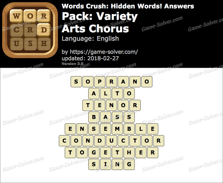 Words Crush Variety-Arts Chorus Answers