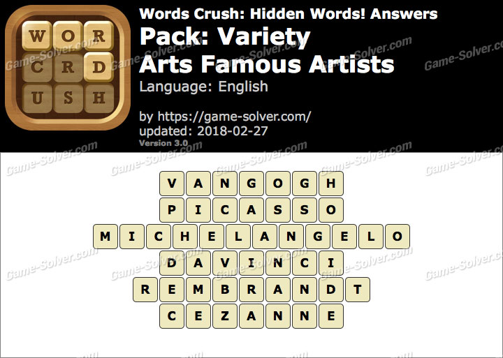 Words Crush Variety Arts Famous Artists Answers