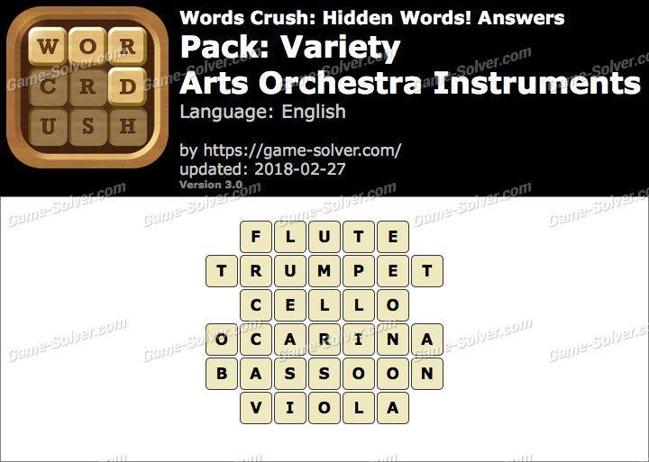 Words Crush Variety-Arts Orchestra Instruments Answers