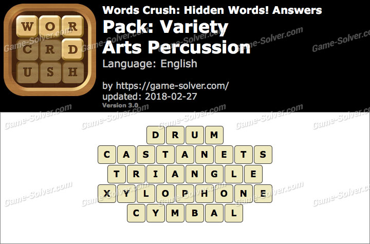 Words Crush Variety-Arts Percussion Answers