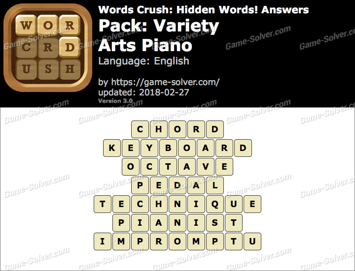 Words Crush Variety-Arts Piano Answers