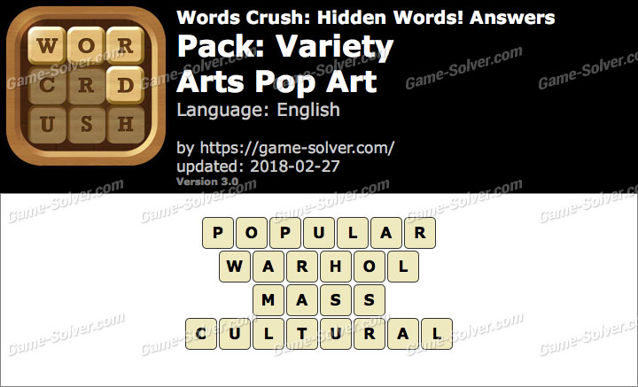 Words Crush Variety-Arts Pop Art Answers