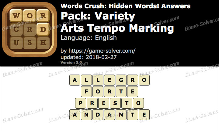 Words Crush Variety-Arts Tempo Marking Answers