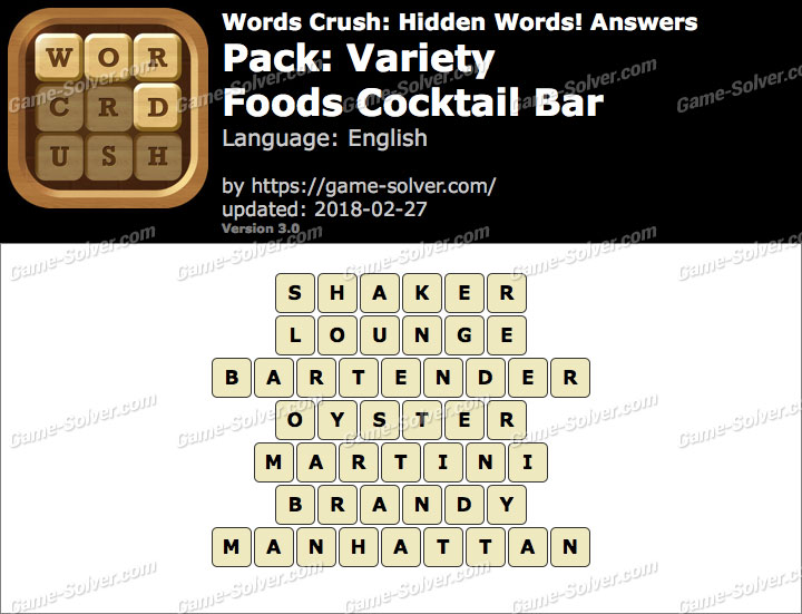 Words Crush Variety-Foods Cocktail Bar Answers