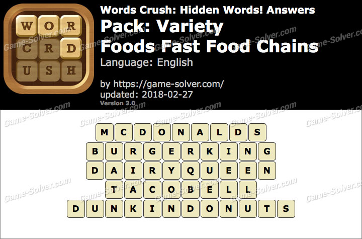 Words Crush Variety-Foods Fast Food Chains Answers