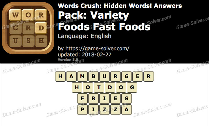 Words Crush Variety-Foods Fast Foods Answers