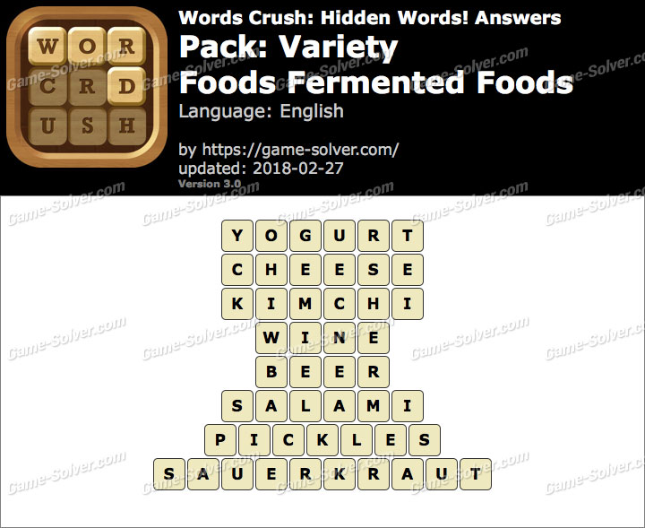 Words Crush Variety-Foods Fermented Foods Answers