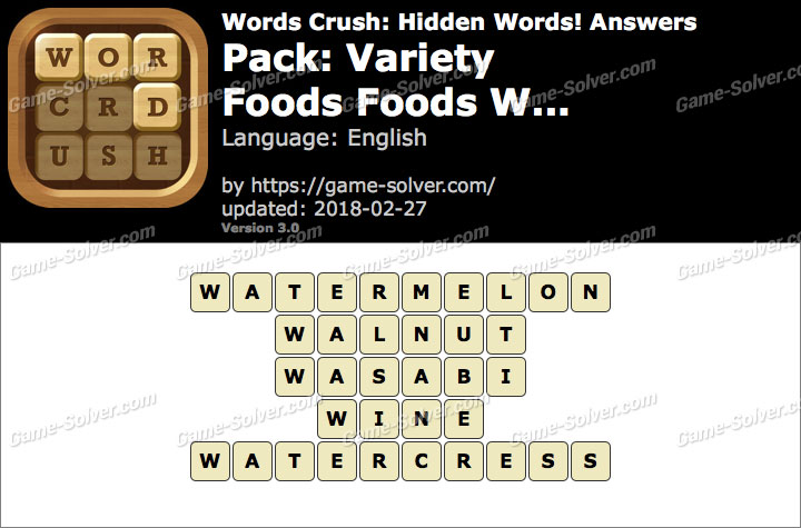Words Crush Variety-Foods Foods W... Answers