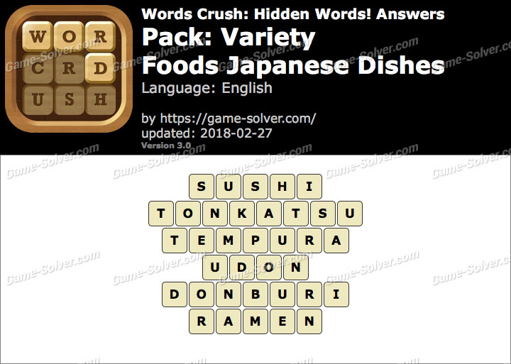 Words Crush Variety-Foods Japanese Dishes Answers