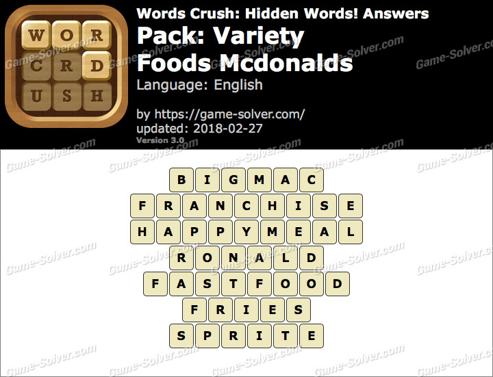 Words Crush Variety-Foods Mcdonalds Answers