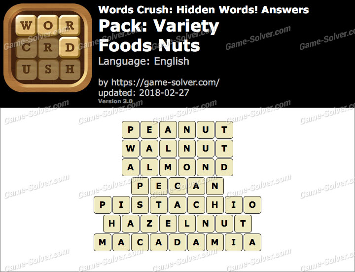 Words Crush Variety-Foods Nuts Answers