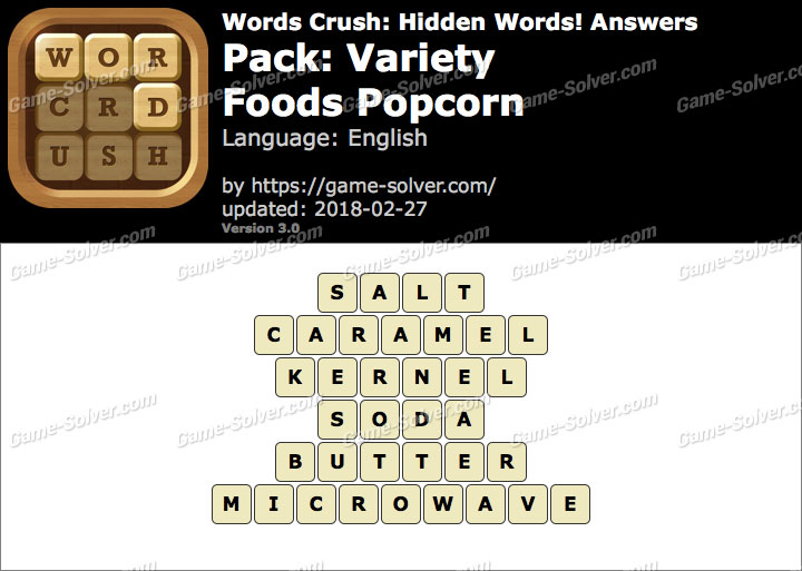 Words Crush Variety-Foods Popcorn Answers