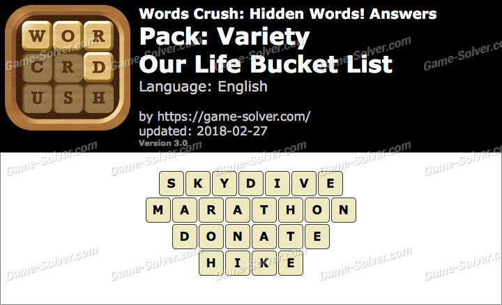 Words Crush Variety-Our Life Bucket List Answers
