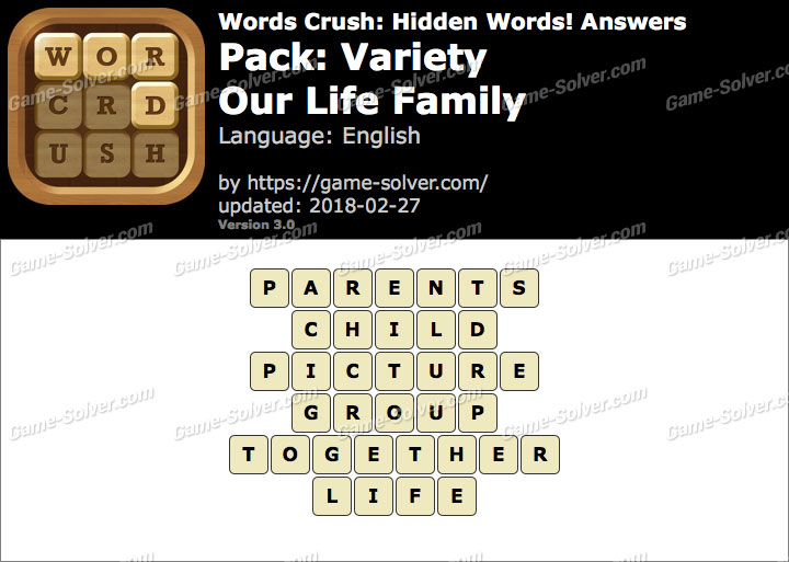 Words Crush Variety-Our Life Family Answers