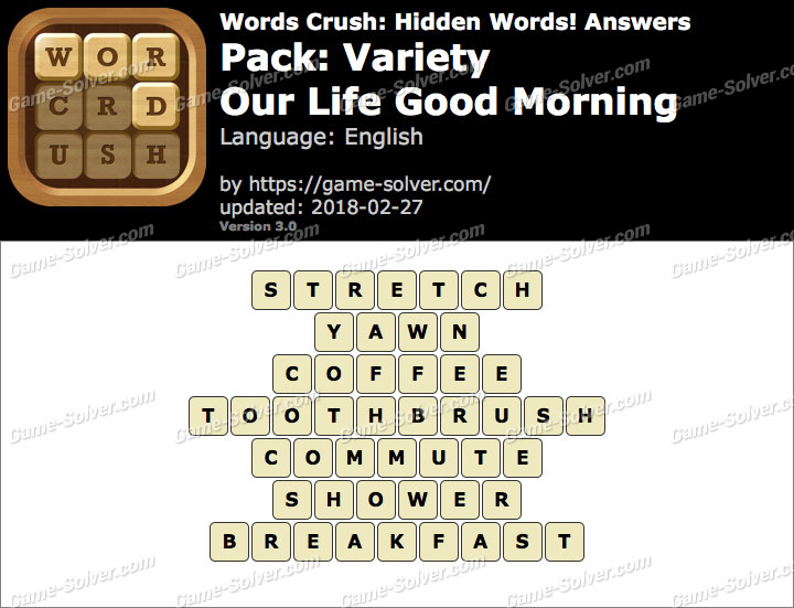 Words Crush Variety-Our Life Good Morning Answers