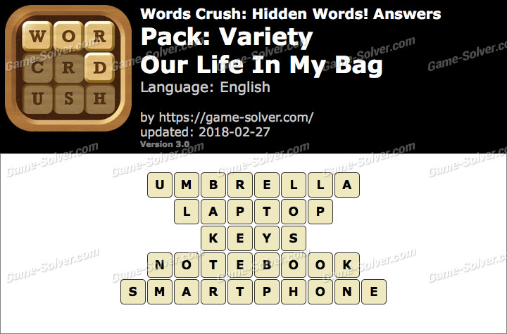 Words Crush Variety-Our Life In My Bag Answers