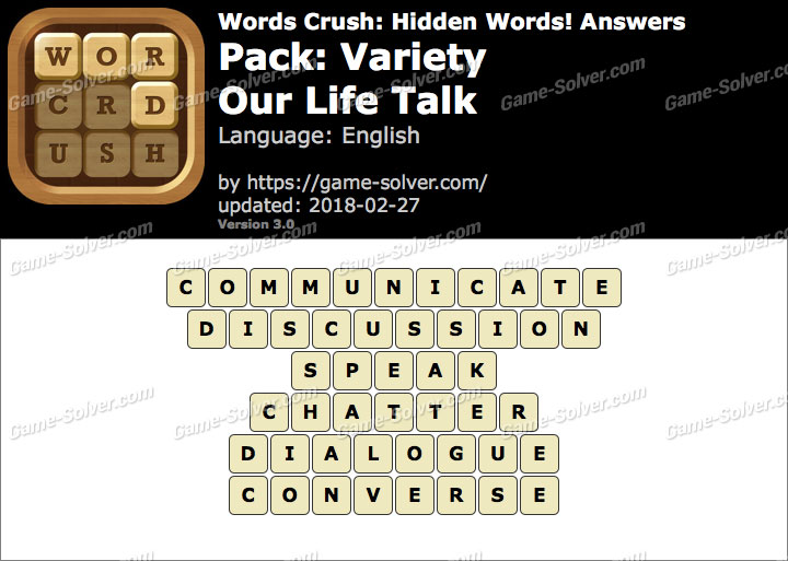 Words Crush Variety-Our Life Talk Answers