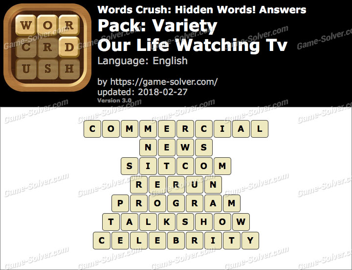Words Crush Variety-Our Life Watching Tv Answers