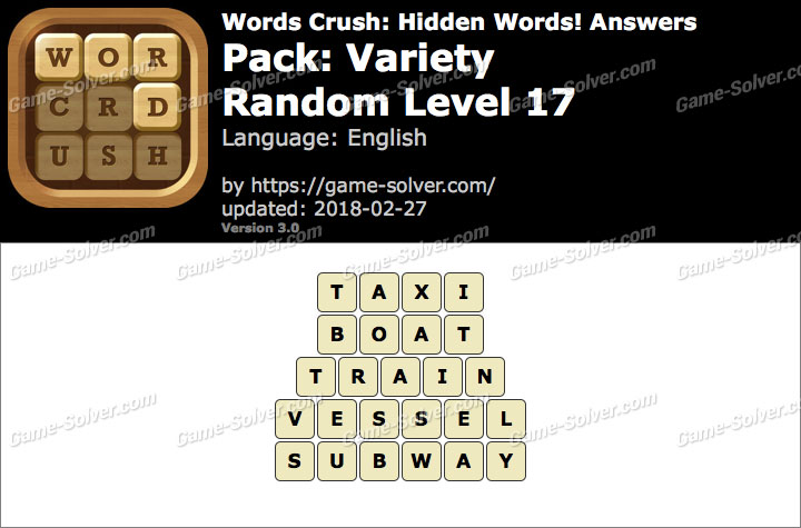 Words Crush Variety-Random Level 17 Answers
