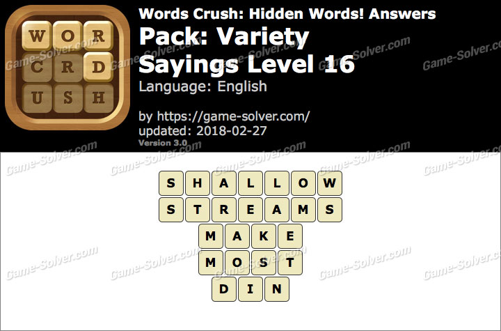 Words Crush Variety-Sayings Level 16 Answers