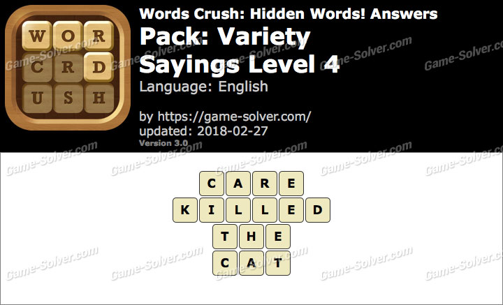 Words Crush Variety-Sayings Level 4 Answers