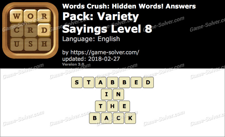 Words Crush Variety-Sayings Level 8 Answers