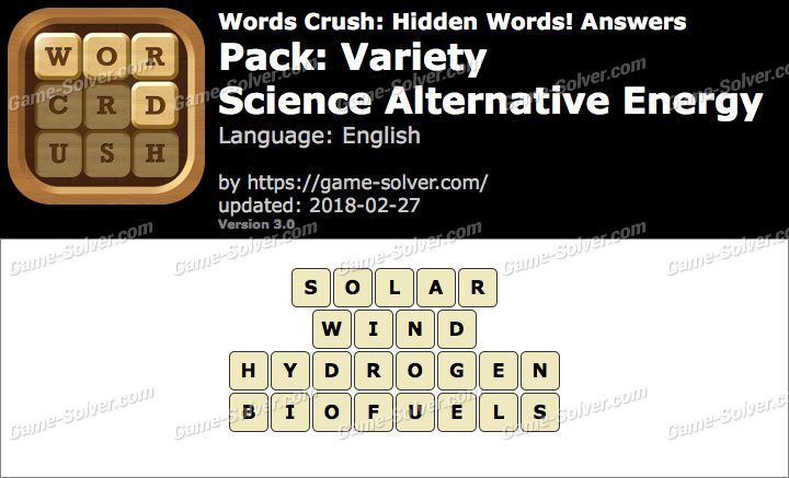 Words Crush Variety-Science Alternative Energy Answers
