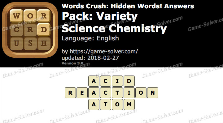 Words Crush Variety-Science Chemistry Answers